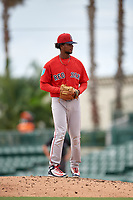 Boston Red Sox pitcher Yasel Santana (93) gets ready to deliver a pitch during a Florida Instructional League game against the Baltimore Orioles on October 8, 2018 at the Ed Smith Stadium in Sarasota, Florida.  (Mike Janes/Four Seam Images)