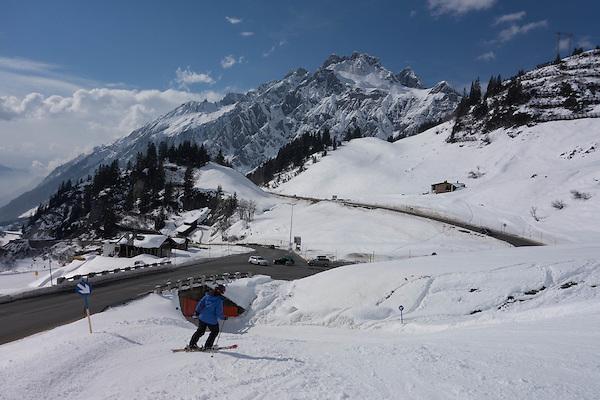 Skiing to Stuben Ski Area, Austria,