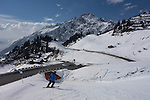 Skiing to Stuben Ski Area, Austria,