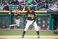 Kyle Kubitza (10) of the Salt Lake Bees at bat against the Colorado Springs Sky Sox in Pacific Coast League action at Smith's Ballpark on May 22, 2015 in Salt Lake City, Utah.  (Stephen Smith/Four Seam Images)
