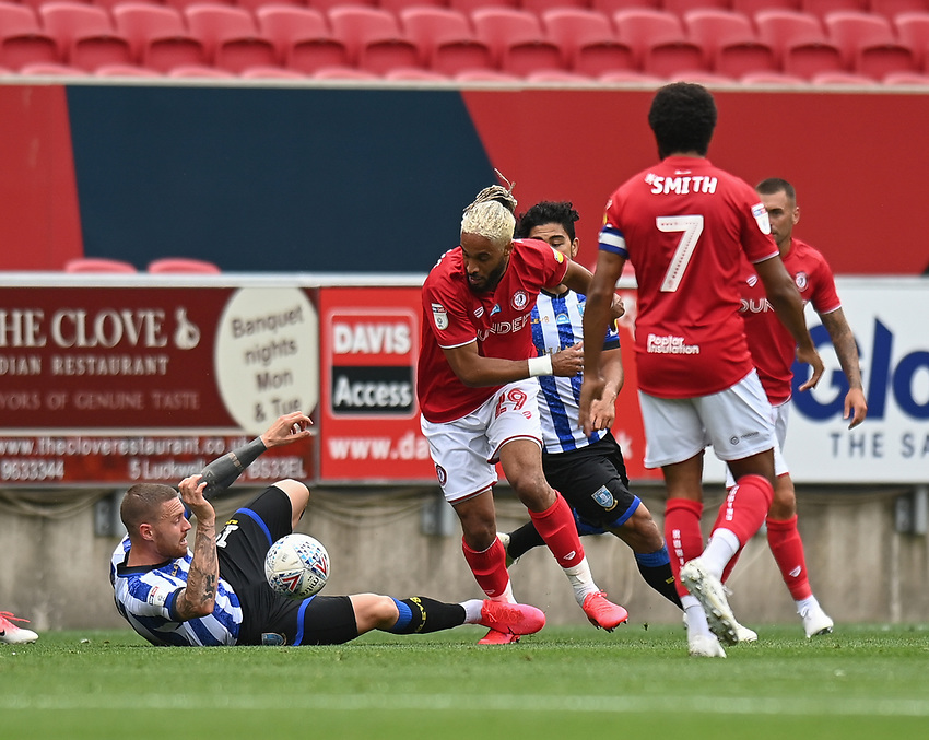 Bristol City's Ashley Williams  (right) battles with Sheffield Wednesday's Connor Wickham (left) <br /> <br /> Photographer David Horton/CameraSport<br /> <br /> The EFL Sky Bet Championship - Bristol City v Sheffield Wednesday - Sunday 28th June 2020 - Ashton Gate Stadium - Bristol <br /> <br /> World Copyright © 2020 CameraSport. All rights reserved. 43 Linden Ave. Countesthorpe. Leicester. England. LE8 5PG - Tel: +44 (0) 116 277 4147 - admin@camerasport.com - www.camerasport.com