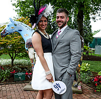 LOUISVILLE, KY - MAY 05: A man and woman pose in front of Aristides on Kentucky Oaks Day at Churchill Downs on May 5, 2017 in Louisville, Kentucky. (Photo by Jesse Caris/Eclipse Sportswire/Getty Images)