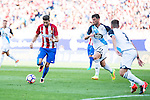 Atletico de Madrid's player Yannick Carrasco and Deportivo de la Coruña's players Borja Valle and Fernando Navarro during a match of La Liga Santander at Vicente Calderon Stadium in Madrid. September 25, Spain. 2016. (ALTERPHOTOS/BorjaB.Hojas)