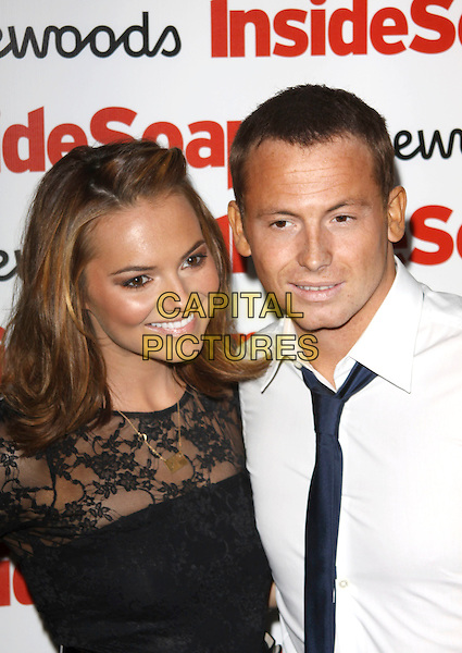 KARA TOINTON & JOE SWASH .Attending the Inside Soap Awards 2009 at Sketch, London, England, UK, September 28th 2009..arrivals half length dress couple black lace tie white shirt gold necklace .CAP/AH.©Adam Houghton/Capital Pictures.