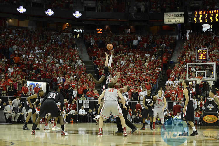 15 MAR 2013:  The University of New Mexico takes on San Diego State University during the Mountain West Conference Men's Basketball Tournament held at the Thomas & Mack Center in Las Vegas, NV. Justin Tafoya/NCAA Photos