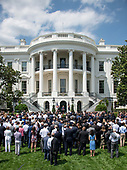 United States President Donald J. Trump hosts Martin Truex Jr., the NASCAR Cup Series champion, and his team, on the South Lawn of the White House in Washington, DC on Monday, May 21, 2018.  Truex competes full-time in the Monster Energy NASCAR Cup Series for Furniture Row Racing.<br /> Credit: Ron Sachs / CNP