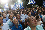 Greek main opposition New Democracy leader Evangelos Meimarakis speak to his supporters in the center of Athens.