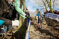 Sven Nys (BEL) up the steep climb<br /> <br /> 2014 UCI cyclo-cross World Championships, Elite Men