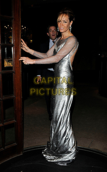 "TARA PALMER TOMKINSON.Attending her Book launch party for ""Inheritance"" at Asprey, New Bond Street, London, England, UK,  September 28th 2010..full length TPT silver shiny long maxi dress sheer sleeves sleeve see thru through side sparkly .CAP/CAN.©Can Nguyen/Capital Pictures."