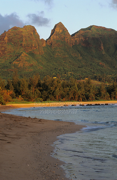 Anahola Bay and Anahola Mountains at sunrise, Kauai, Hawaii, USA