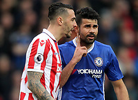 Stoke City's Geoff Cameron has words with Chelsea's Diego Costa<br /> <br /> Photographer Mick Walker/CameraSport<br /> <br /> The Premier League - Stoke City v Chelsea - Saturday 18th March 2017 - bet365 Stadium - Stoke<br /> <br /> World Copyright &copy; 2017 CameraSport. All rights reserved. 43 Linden Ave. Countesthorpe. Leicester. England. LE8 5PG - Tel: +44 (0) 116 277 4147 - admin@camerasport.com - www.camerasport.com