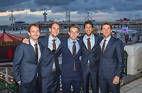The Hague, The Netherlands, September 13, 2017,  Sportcampus , Davis Cup Netherlands - Chech Republic, Official Dinner, Dutch team in front of &quot;The Pier&quot; in Scheveningen, Ltr: Matwe Middelkoop, Thiemo de Bakker, Tallon Griekspoor, Robin Haase and Captain Paul Haarhuis.<br /> Photo: Tennisimages/Henk Koster