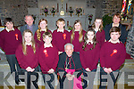Confirmation day for pupils of Scoil Naomh Eirc Kilmoyley in St Brendan's Church, Ardfert, by Bill Murphy Bishop of Kerry, Front l-r: SarahO'Sullivan,Marcus Leane, Bill Murphy (Bishop of Kerry), Rachel Murphy and Cian Doherty. Back l-r:Cathal Sheehan, Fr Tadgh Fitzgerald, Erin Stack, Ciarán Monaghan, Lauren carey, Triona Curran and Áine Crowe (teacher).