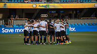 San Jose, CA - Tuesday June 11, 2019: San Jose Earthquakes players huddle before the US Open Cup match between the San Jose Earthquakes and Sacramento Republic FC at Avaya Stadium.