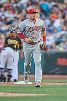 Luke Voit (26) of the Memphis Redbirds in action against the Salt Lake Bees at Smith's Ballpark on July 24, 2018 in Salt Lake City, Utah. Memphis defeated Salt Lake 14-4. (Stephen Smith/Four Seam Images)