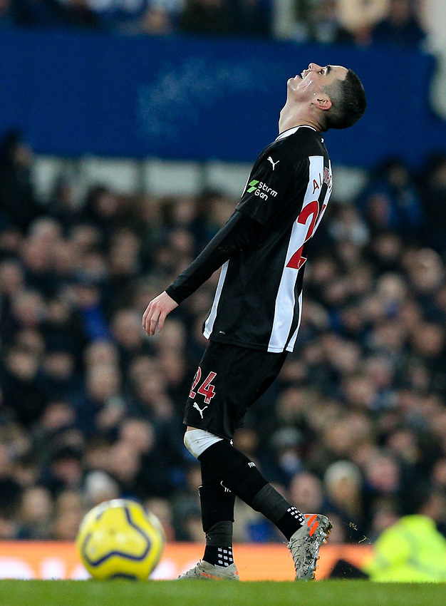 Newcastle United's Miguel Almiron reacts<br /> <br /> Photographer Alex Dodd/CameraSport<br /> <br /> The Premier League - Everton v Newcastle United  - Tuesday 21st January 2020 - Goodison Park - Liverpool<br /> <br /> World Copyright © 2020 CameraSport. All rights reserved. 43 Linden Ave. Countesthorpe. Leicester. England. LE8 5PG - Tel: +44 (0) 116 277 4147 - admin@camerasport.com - www.camerasport.com