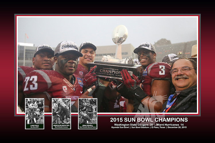 "Jeremiah Allison, Gerard Wicks, Destiny Vaeao, Ivan Mclennan and Dan Bernardo pose with the Sun Bowl Champlons trophy, with inset photos of the game MVP (Luke Falk), most valuable lineman (Hercules Mata'afa) and the most valuable special teams player (Erik Powell), in a commemorative photo from The Cougars big victory over the Miami Hurricanes in the Hyundai Sun Bowl game in El Paso, Texas, on December 26, 2015. This memorabilia piece is processed at 18""x12"", and is available as a print, rolled canvas or canvas wrap."
