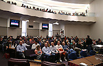 Nearly 400 people fill three different hearing rooms in an effort to watch a Senate Government Affairs hearing at the Legislative Building in Carson City, Nev., on Wednesday, Feb. 4, 2015. Lawmakers are considering a proposal that would suspend prevailing wage rules for contractors building schools.<br /> Photo by Cathleen Allison