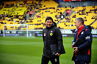 Coaches Darije Kalezic (left) and Marco Kurtz chat before the A-League football match between Wellington Phoenix and Adelaide United FC at Westpac Stadium in Wellington, New Zealand on Sunday, 8 October 2017. Photo: Dave Lintott / lintottphoto.co.nz