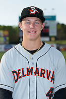 Ryan Mountcastle (4) of the Delmarva Shorebirds poses for a photo prior to the game against the Kannapolis Intimidators at Kannapolis Intimidators Stadium on April 11, 2016 in Kannapolis, North Carolina.  (Brian Westerholt/Four Seam Images)