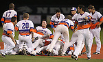 Bishop Gorman players celebrate after winning their seventh-straight state championship baseball title at the University of Nevada, Reno, in Reno, Nev., on Saturday, May 19, 2012. Gorman beat Coronado 11-1..Photo by Cathleen Allison