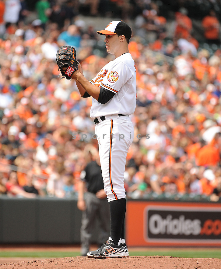 Baltimore Orioles Ubaldo Jimenez (31) during a game against the Toronto Blue Jays on April 13, 2014 at Oriole Park in Baltimore, MD. The Blue Jays beat the Orioles 11-3.
