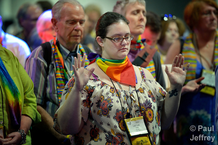 Dozens of demonstrators demanding a more inclusive church took over the floor of a May 3 session of the 2012 United Methodist General Conference in Tampa, Florida. They held communion around the center table and sang songs, causing the presiding bishop to suspend the morning session. The demonstrators left at the beginning of the afternoon session after discussion with several women bishops, who publicly told the demonstrators that they felt the pain they had experienced as a result of the conference's actions to continue the denomination's position on homosexuality.