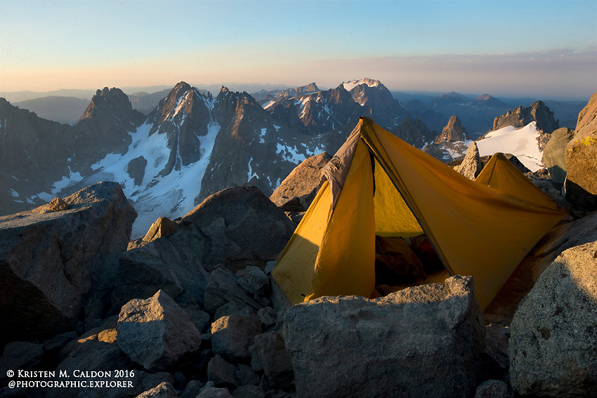 A barely there bivvy spot on the precipitous summit of Gannett Peak.