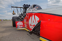 May 22, 2016; Topeka, KS, USA; Detailed view to bodywork damage to the car of NHRA top fuel driver Doug Kalitta during the Kansas Nationals at Heartland Park Topeka. Mandatory Credit: Mark J. Rebilas-USA TODAY Sports