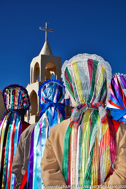 The villa of Tortugas near Las Cruces, New Mexico, celebrates the Virgin of Guadalupe Feast day each year on the traditional dates of December 10-12 with prayers, matchine dancers, a pilgrimage, and colorful Chichimecca dancers. Matachine dancers have colorful costumes.