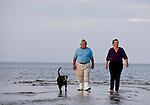 Jack and Anne Rudloe walk the water at Mashes Sands Beach in Wakulla County Florida May 27, 2009.  (Mark Wallheiser/TallahasseeStock.com)