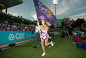 9th January 2018, nib Stadium, Perth, Australia; A League football, Perth Glory versus Melbourne City; Sophie a flag bearer for Perth Glory runs around the ground before the start of play