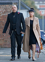 "Pictured: Paul and Gemma Black, the parents of one year old Pearl Black, arrive at the Coroner's Court in Pontypridd, south Wales, UK. Thursday 25 October 2018 Re: The inquest into the death of a toddler who died after a parked Range Rover's brakes failed and it hit a garden wall which fell on top of her will be held at Pontypridd Coroner's Court, Wales, UK today (Thu 25 Oct 2018).<br /> One year old Pearl Melody Black and her eight-month-old brother were taken to hospital after the incident in Merthyr Tydfil, in August 2017.<br /> Pearl's family, father Paul who is The Voice contestant and mum Gemma have said she was ""as bright as the stars""."