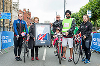 Picture by Allan McKenzie/SWpix.com - 10/09/17 - Commercial - Cycling - HSBC UK City Ride Leeds - Leeds, England - Katy Marchant and Sophie Capewell flank Leeds' Leader of the Council Judith Blake & Raghujit Narulaas as they are presented with the British Cycling Jersey by Tom Mutton.
