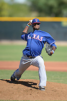 Texas Rangers pitcher Joe Watson (19) during an Instructional League game against the Cincinnati Reds on October 3, 2014 at Surprise Stadium Training Complex in Surprise, Arizona.  (Mike Janes/Four Seam Images)