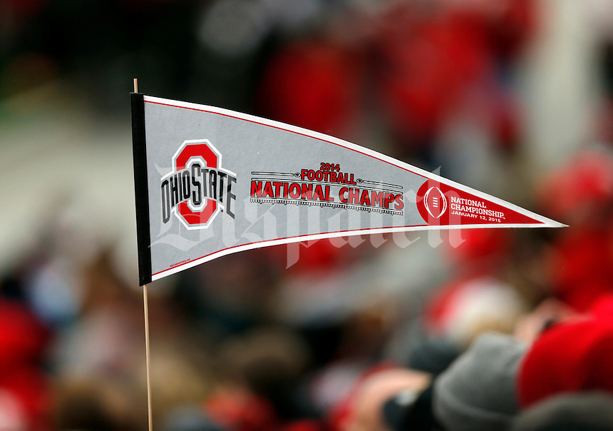 A pennant waving during the Ohio State football National Championship celebration at Ohio Stadium on Saturday, January 24, 2015. (Columbus Dispatch photo by Jonathan Quilter)
