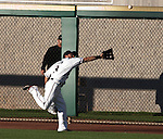 Reno Aces right fielder Adam Eaton makes the catch at trhe fence against the Sacramento River Cats during their game on Monday night July 30, 2012 at Aces Ballpark in Reno, Nevada.