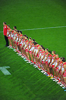 The Swans line up before kick off during the Australian Rules Football ANZAC Day match between St Kilda Saints and Sydney Swans at Westpac Stadium, Wellington, New Zealand on Thursday, 24 May 2013. Photo: Dave Lintott / lintottphoto.co.nz