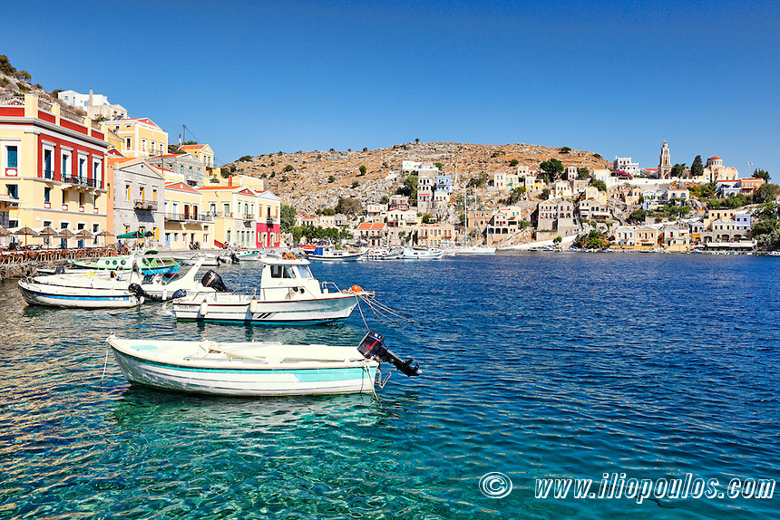 Fishing boats at the port of Symi island, Greece