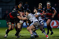 Elliot Dee of Dragons carries the ball with the help of Cory Hill as they challenged by Iban Etcheverry of Bordeaux Begles during the European Challenge Cup match between Dragons and Bordeaux Begles at Rodney Parade, Newport, Wales, UK. 20 January 2018