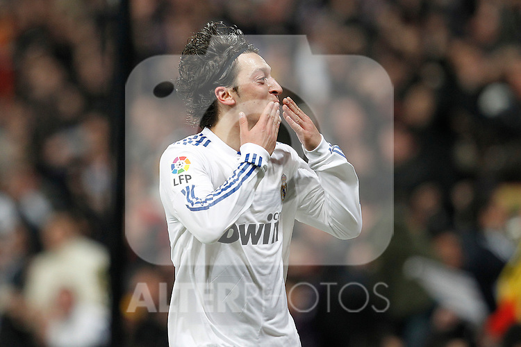 Real Madrid's Mesut Ozil goal during spanish King's Cup semifinal match on February 2nd, 2011...Photo: Cid-Fuentes - Cebolla / ALFAQUI