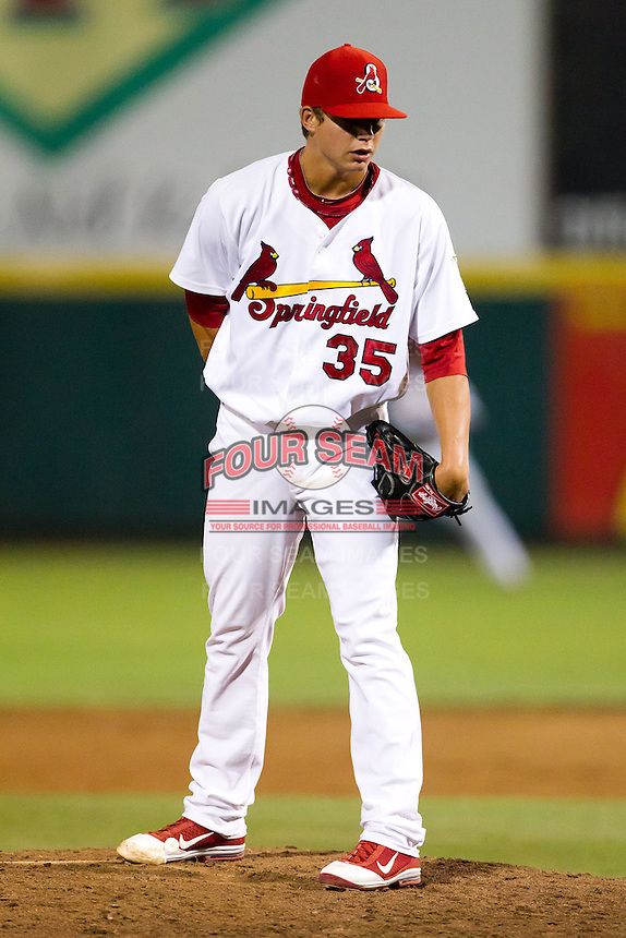 Kevin Thomas (35) of the Springfield Cardinals on the mound during a game against the Tulsa Drillers at Hammons Field on July 20, 2011 in Springfield, Missouri. Springfield defeated Tulsa 12-1. (David Welker / Four Seam Images)