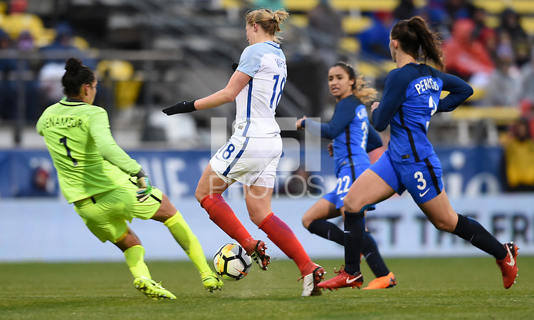 Columbus, Ohio - Thursday March 01, 2018: Karina Benameur , Ellen White during a 2018 SheBelieves Cup match between the women's national teams of the England (ENG) and France (FRA) at MAPFRE Stadium.