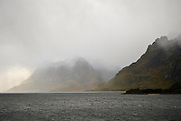 Storymy weather over Raftsundet straight between Lofoten and Vesterålen islands, Norway