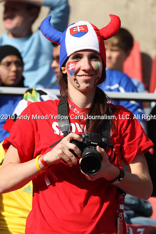 24 JUN 2010: A Slovakia fan, pregame. The Slovakia National Team played the Italy National Team at Ellis Park Stadium in Johannesburg, South Africa in a 2010 FIFA World Cup Group F match.