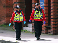 Pictured: Search police officers in Princess Street, Swansea. Friday 15 September 2017<br /> Re: Soldiers from the Welsh Guards have exercised their freedom to march through the streets of Swansea in Wales, UK.<br /> The Welsh warriors paraded with bayonets-fixed from the city centre to the Brangwyn Hall, where the Lord Mayor of Swansea took a salute.
