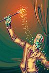 Illustrative image of businessman using magic wand representing prosperity