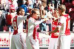 Nederland, Amsterdam, 7 oktober  2012.Seizoen 2012-2013.Eredivisie.Ajax-FC Utrecht.Ryan Babel van Ajax scoort de 1-0 en wordt gefeliciteerd door zijn ploeggenoten