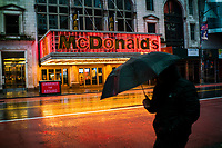 NEW YORK, NY - April 13:  McDonalds and other local stores remain shuttered due to COVID-19 at Times Square on April 13, 2020. in New York, United States. The global economy is facing the worst collapse since the WWII, while COVID-19  pandemic has now killed more than 22,000 people in the United States and at least 1,864,629 people died world wide. ((Photo by Eduardo MunozAlvarez/VIEWpress)