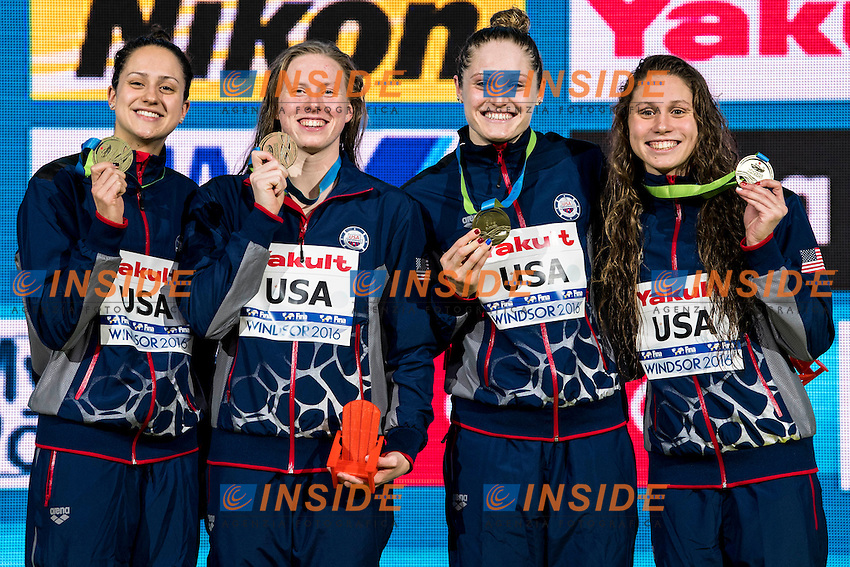 United States USA Gold Medal <br /> DE LOOF Alexandra Margaret KING Lilly WORRELL Kelsi <br /> COMERFORD Mallory Elizabeth  <br /> Women's 4x100m Medley Relay<br /> 13th Fina World Swimming Championships 25m <br /> Windsor  Dec. 11th, 2016 - Day06 Finals<br /> WFCU Centre - Windsor Ontario Canada CAN <br /> 20161211 WFCU Centre - Windsor Ontario Canada CAN <br /> Photo &copy; Giorgio Scala/Deepbluemedia/Insidefoto